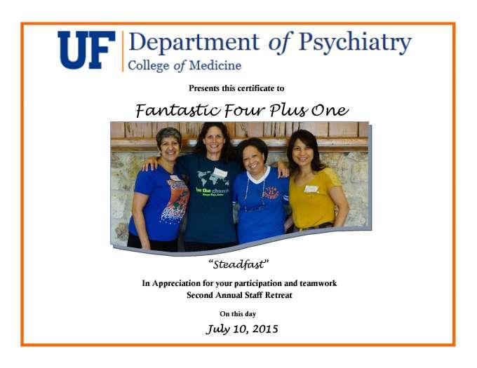 Fantastic4Plus1 certificate of appreciation
