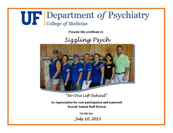 SizzlingPsych certificate of appreciation