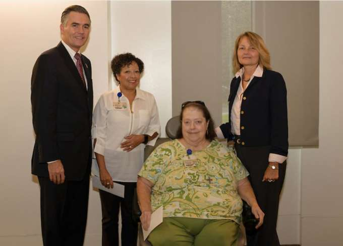 Dean Michael Good, MD, Priscilla Spence, Paula Edge and Marika Brigham at the Service Pin Award Ceremony