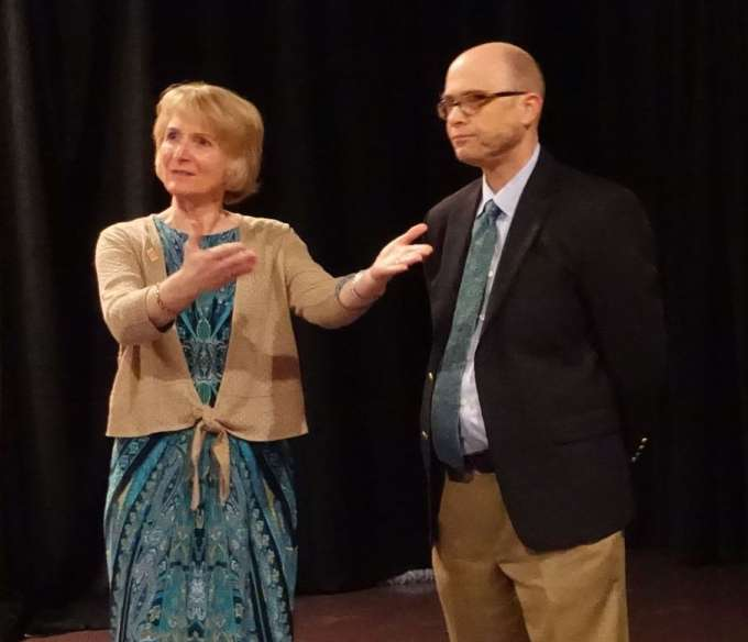 Dr. Regina Bussing and Dr. Richard Holbert answer questions from the audience following the film.