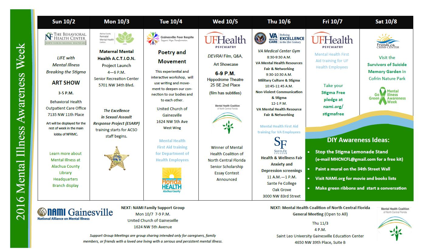 Mental Illness Awareness Week 2016 Calendar