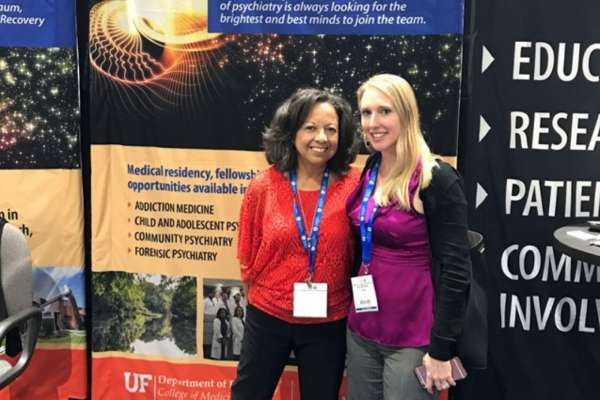 Priscilla Spence and Dr. Katrina Kise at the UF booth at APA