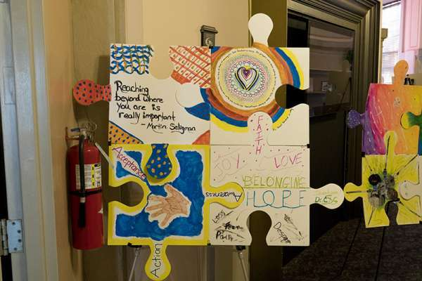 Puzzle Pieces art work on display