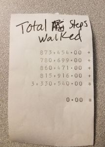 Let's Get Fiscal's tally for the 4 week Fall Walking Challenge