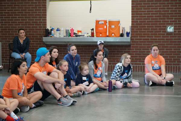 Campers listen to UF athletes