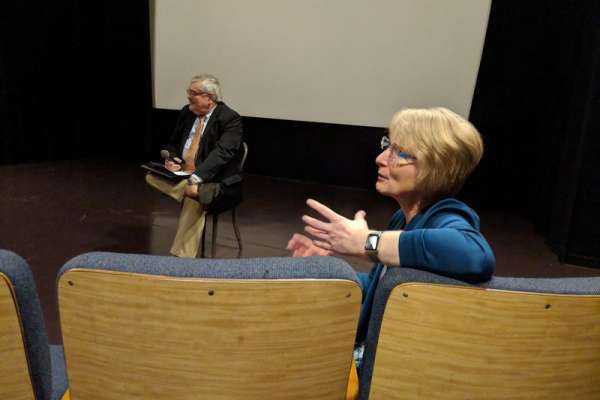 Chair of UF Psychiatry, Regina Bussing, MD participating in the Q&A following the screening