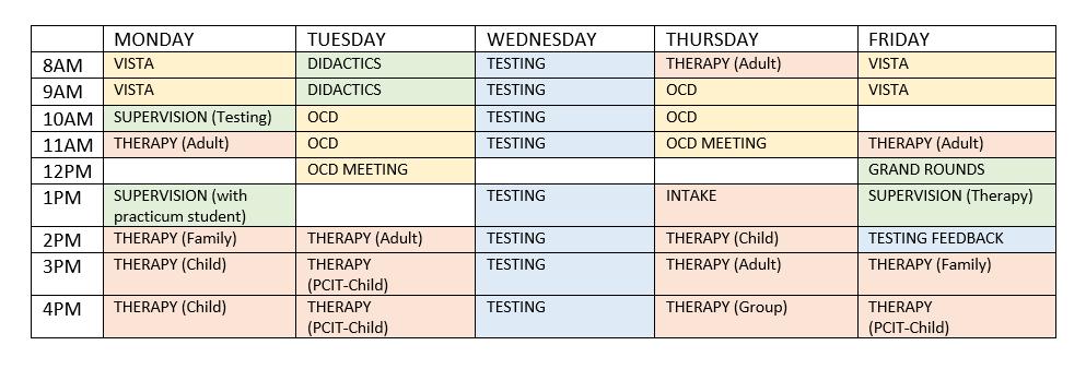 Sample post-doc schedule