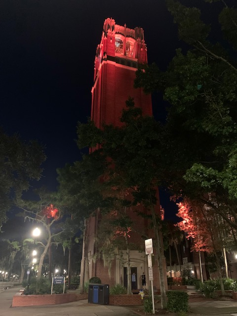 Century Tower lit orange for World Patient Safety Day
