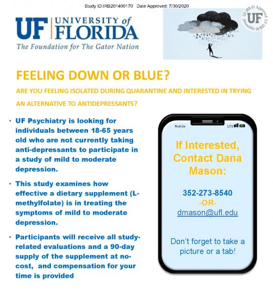 Deplin Study Flyer email dmason@ufl.edu for information