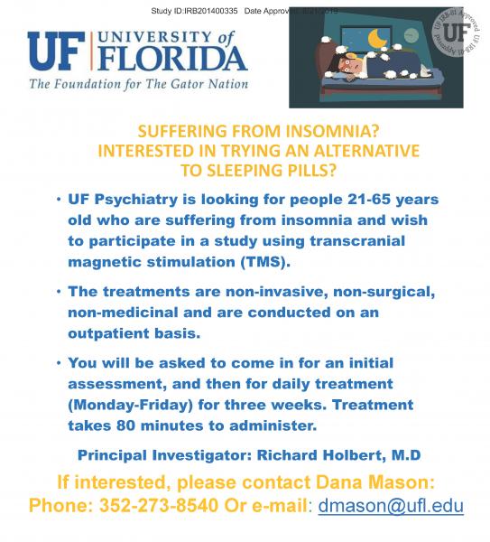 Insomnia Study Flyer email dmason@ufl.edu for information