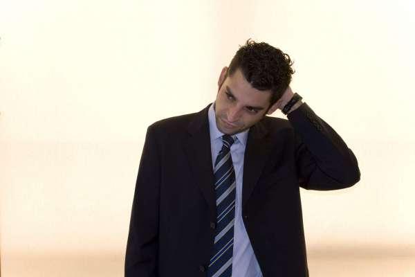 stressed man in suit