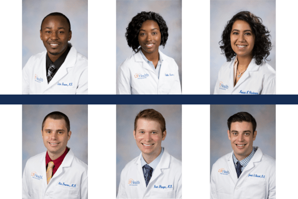 Headshots of Drs. Brown, Burns, Chandarana, Downs, Flannagan, Watnicl