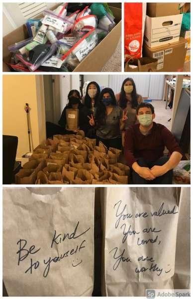 Residents making hygiene kits for GRACE Marketplace